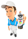 3d painter holding spray paint bottle