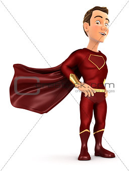 3d red hero standing with cape in the wind
