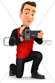 3d seller filming with video camera