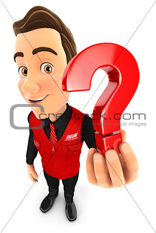 3d seller holding a question mark icon