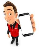 3d seller holding smartphone