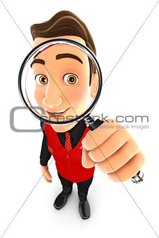 3d seller looking into a magnifying glass