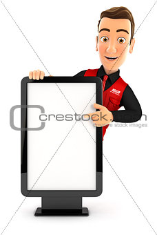 3d seller pointing to blank billboard