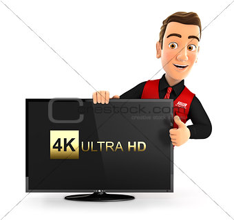 3d seller with 4K ultra HD television and thumb up