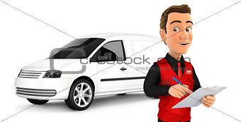 3d seller with notepad in front of car