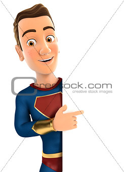 3d superhero pointing to right blank wall