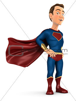 3d superhero standing with cape in the wind