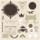 Collection of design elements on vintage background