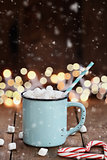 Hot Cocoa with Mini Marshmallows with Falling Snow