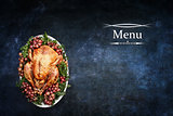 Menu with Roast Turkey over Chalkboard Texture Background