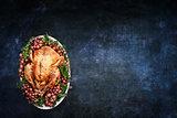 Roast Turkey over Chalkboard Texture Background