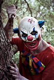 scary evil clown wielding a knife in the woods