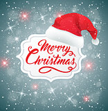 Christmas background with hat of Santa Claus