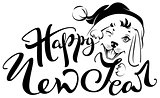 Happy New Year text for greeting card. Head of dog in santa hat