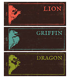 Vintage dark banners for games.