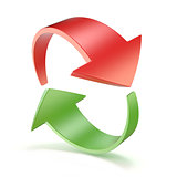 Red and green arrows circle 3D