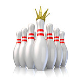 Bowling pins arranged and one with royal crown. 3D