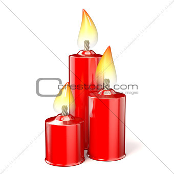 Three red candles. 3D