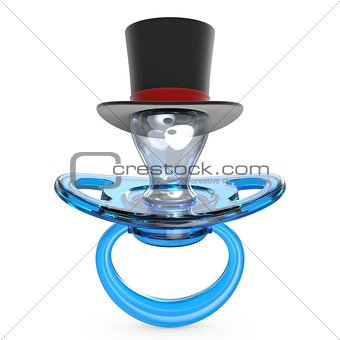 Blue baby pacifier with gentleman hat Baby BOY symbol 3D
