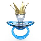 Blue baby pacifier with golden crown Baby KING symbol 3D