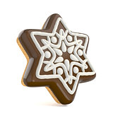 Chocolate Christmas gingerbread snowflake decorated with white l