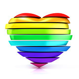 Colorful, rainbow heart. 3D