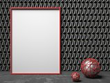 Blank picture frame on black triangulated background. Mock up