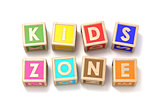 Word KIDS ZONE made of wooden blocks toy 3D