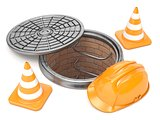 Manhole, traffic cones and safety helmet. 3D