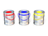 Metal tin cans with basic colors (red, blue and green) paint