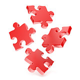 Red puzzles falling to the ground 3D