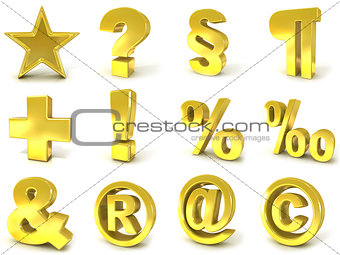 3D golden signs and symbols