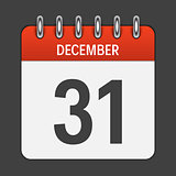 December 31 Calendar Daily Icon. Vector Illustration Emblem. Ele