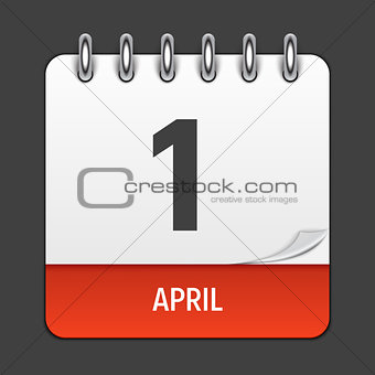 April 1 Calendar Daily Icon. Vector Illustration Emblem. Element of Design for Decoration Office Documents and Applications. Logo of Day, Date, Month and Holiday. Fool s Day