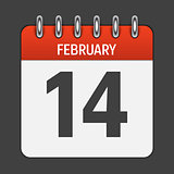February 14 Calendar Daily Icon. Vector Illustration Emblem. Ele
