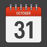 October 31 Calendar Daily Icon. Vector Illustration Emblem. Elem