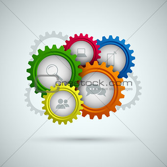 Abstract network connection with color gears template