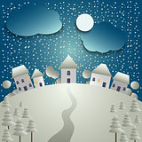 Christmas card with snowy village in background