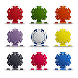 Collection of colored poker chips template