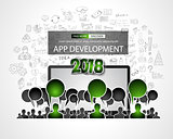 Team App Development  concept with Business Doodle design style