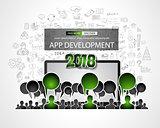 Team App Development  concept with Business Doodle design style