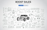 Boost Sales concept with Business Doodle design style: online ca