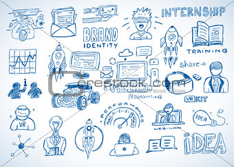 Business doodles Sketch set : infographics elements isolated, ve