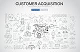 Customer Acquisition concept with Business Doodle design style: