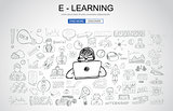 E Learning concept with Business Doodle design style: online for