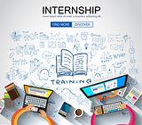 Internship concept with Business Doodle design style: online for