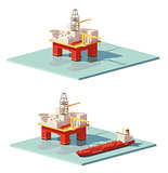 Vector low poly offshore oil rig drilling platform
