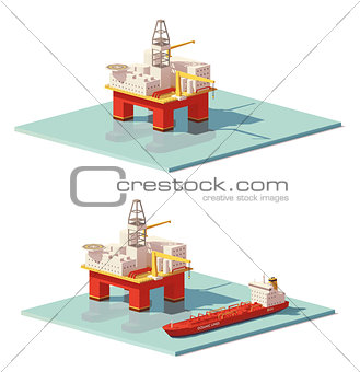 Image 7364987: Vector low poly offshore oil rig drilling platform