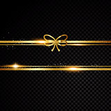 Two golden lines with bow and light effects. Isolated on black transparent background. Vector illustration
