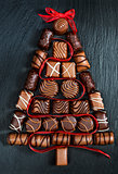 Chocolate Christmas tree on stone table